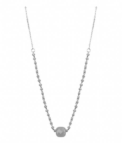 My Jewellery Ketting Enamel Necklace Glass - Grey silver colored (1500)