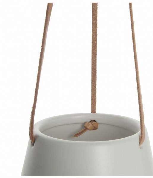 Present Time Bloempot Hanging pot Skittle ceramic small Leather cord matte white (PT2845WH)
