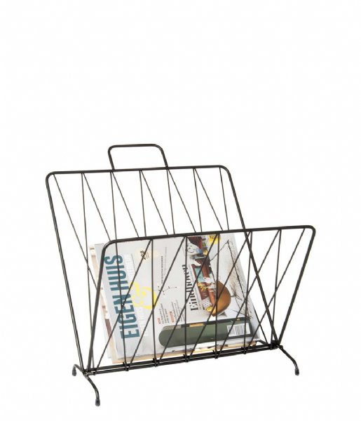 Present Time Decoratief object Magazine rack Diamond Raster metal BOX32 Design matt black (PT2757BK)