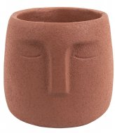 Present Time Plant pot Face cement clay brown (PT3599BR)