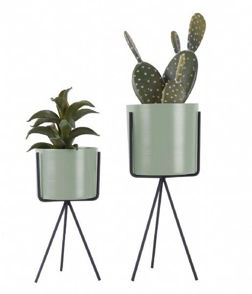 Present Time Bloempot Plant pot set Pedestal iron Soft green (PT3426GR)