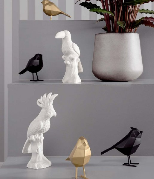 Present Time Decoratief object Statue bird small polyresin matt black (PT3335BK)