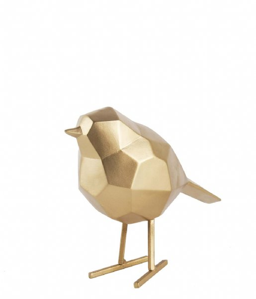 Present Time Decoratief object Statue bird small polyresin gold colored (PT3335GD)