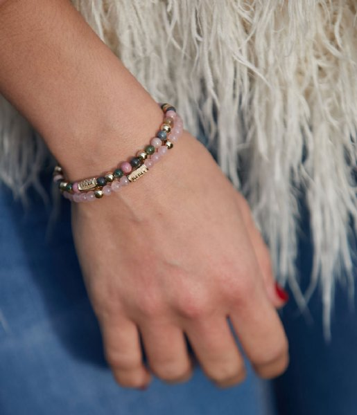 Rebel and Rose Armband Pink Rose II - 4mm - yellow gold pated S Roze/goud-kleur