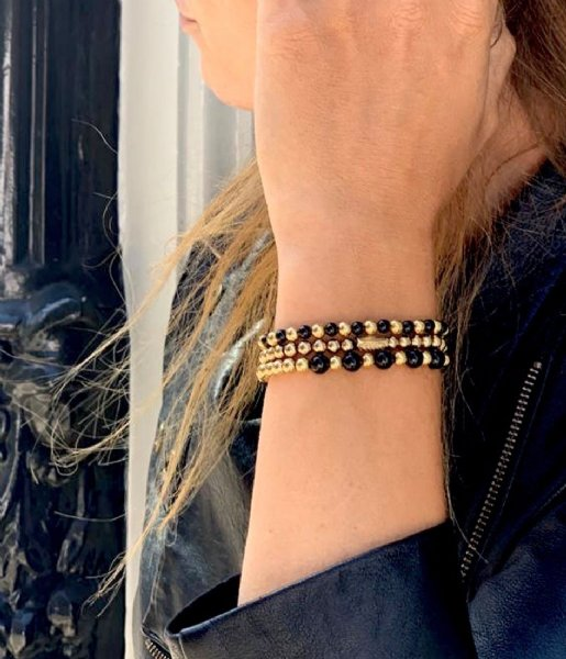 Rebel and Rose Armband Mix Black Madonna - 4mm - yellow gold plated Bruin/Geelgoud