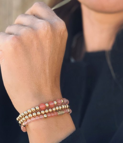 Rebel and Rose Armband Yellow Gold meets Cherry Rose - 6mm Roze/geelgoud