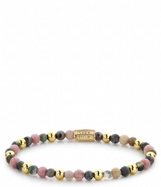 Rebel and Rose Armband Winter Glow - 4mm - yellow gold plated Roze, rood, grijs en geel-goud