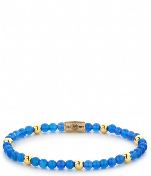 Rebel and Rose Armband Brightening Blue - 4mm - yellow gold plated Blauw/goud-kleur