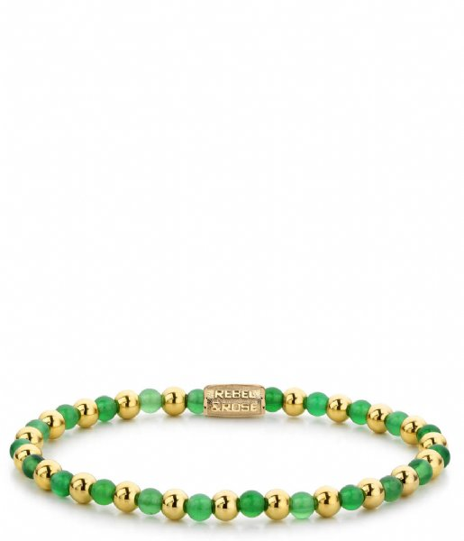Rebel and Rose Armband Mix Green Harmony - 4mm - yellow gold plated Groen/goud-kleur