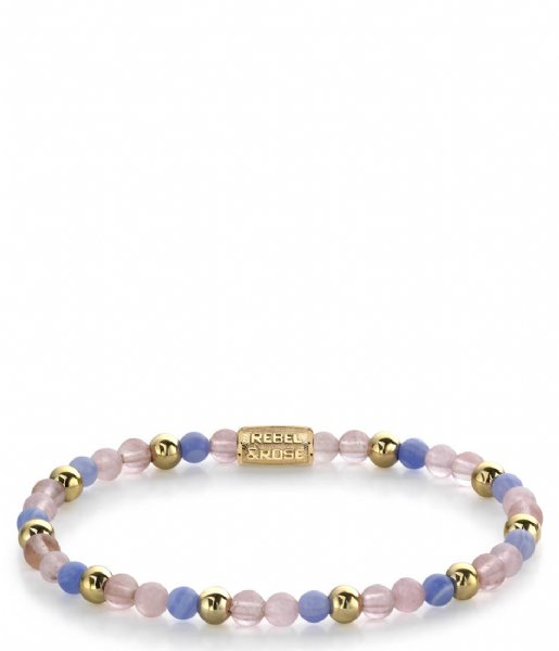 Rebel and Rose Armband Pink Summer Vibes II - 4mm - yellow gold plated S Roze, Blauw, Geelgoud