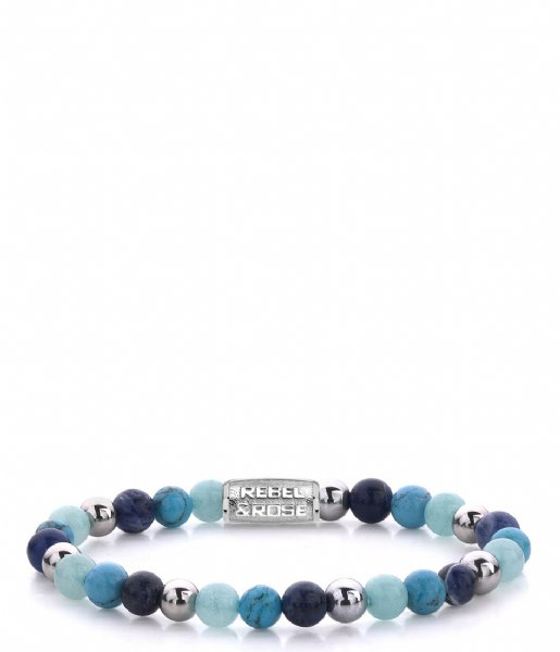 Rebel and Rose Armband Blue Summer Vibes II - 6mm Blauw/Zilverkleur