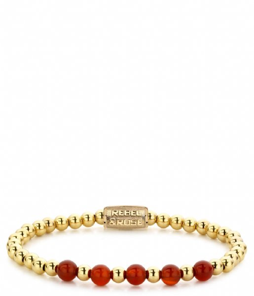 Rebel and Rose Armband Yellow Gold meets Amazing Grace - 6mm Geelgoud met rood