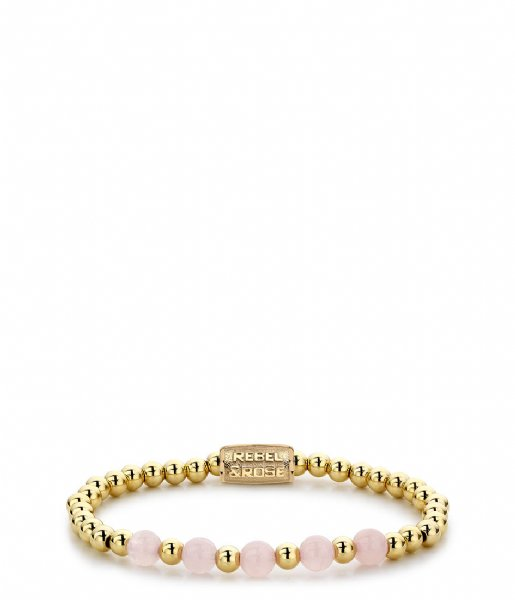 Rebel and Rose Armband Yellow Gold meets Pink Rose - 6mm Geelgoud met roze
