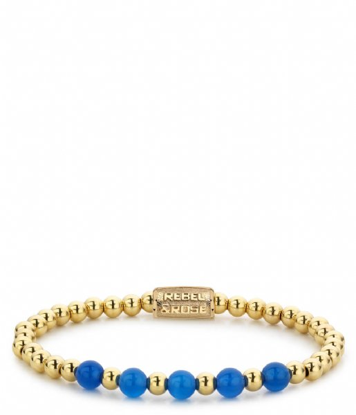 Rebel and Rose Armband Yellow Gold meets Brightening Blue - 6mm Geelgoud met blauw
