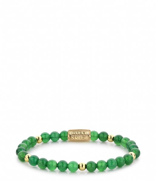 Rebel and Rose Armband Green Harmony - 6mm - yellow gold plated Groen met goud-kleur