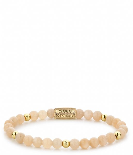 Rebel and Rose Armband Sunset Beach - 6mm - yellow gold plated Taupe met goud-kleur