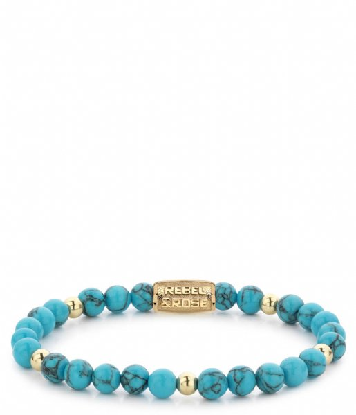 Rebel and Rose Armband Turquoise Delight II - 6mm - yellow gold plated Groenblauw met goud-kleur