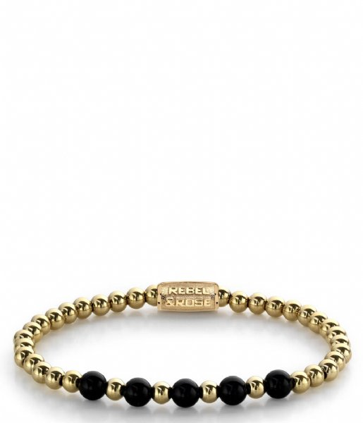 Rebel and Rose Armband Yellow Gold meets Black Madonna - 6mm Zwart/geelgoud