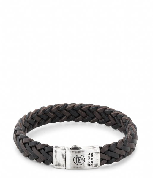Rebel and Rose Armband Braided Raw Matt Black-Earth Zwart/Bruin