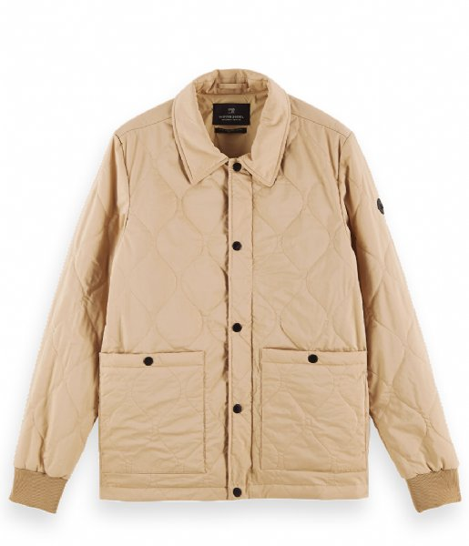 Scotch and Soda jas Classic quilted cotton blend jacket Sand (0137)