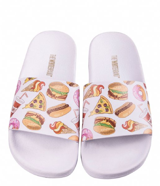The White Brand Slippers Burgers Kids white