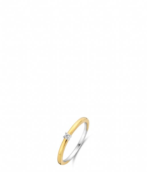TI SENTO - Milano Ring 925 Sterling Zilver Ring 12210 Zirconia white yellow gold plated (12210ZY)