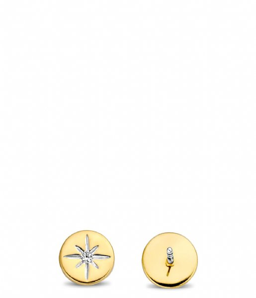 TI SENTO - Milano Oorbellen 925 Sterling Zilver Earrings 7822 Zirconia white yellow gold plated (7822ZY)