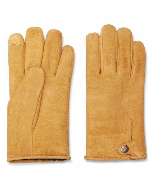 UGG Handschoenen Tabbed Splice Vent Leather Gloves Chestnut