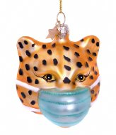 Vondels Ornament Glass Panther With Face Mask 11 cm Gold plated