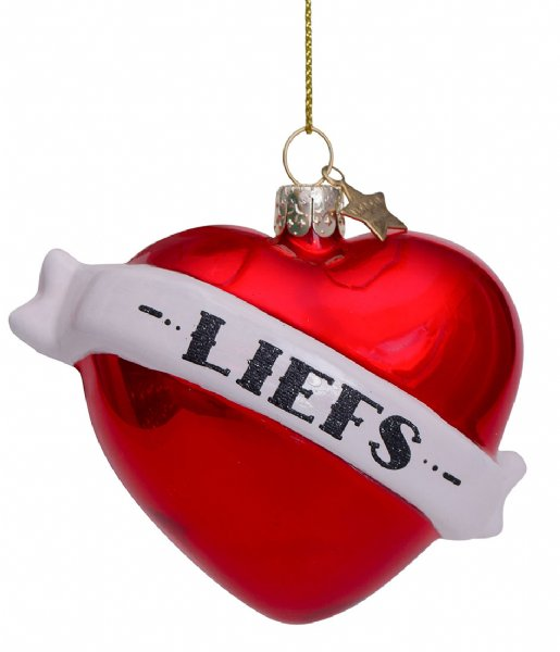 Vondels Kerstversiering Ornament Glass Pearl Heart Text Liefs  8 cm Red
