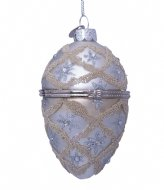Vondels Ornament glass silver faberge egg silver colored