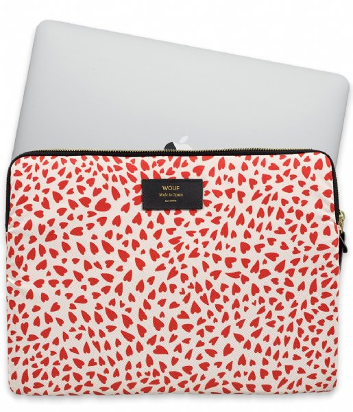 Wouf Laptop sleeve White Hearts 13 inch White